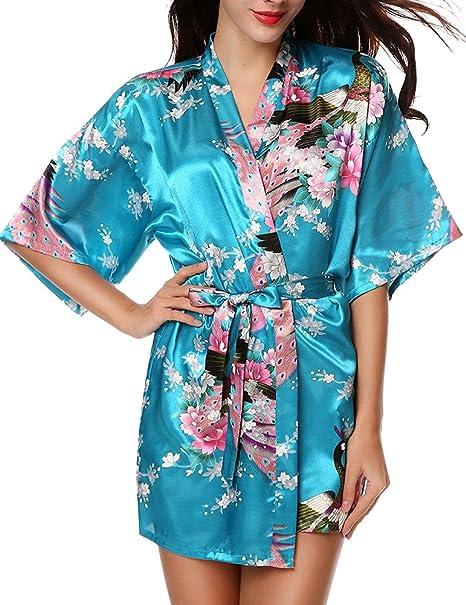 Mujer Vestido Kimono Corto Pijama Bata Satén Estampado Flores Lenceria Albornoz 3/4 Manga Elegante