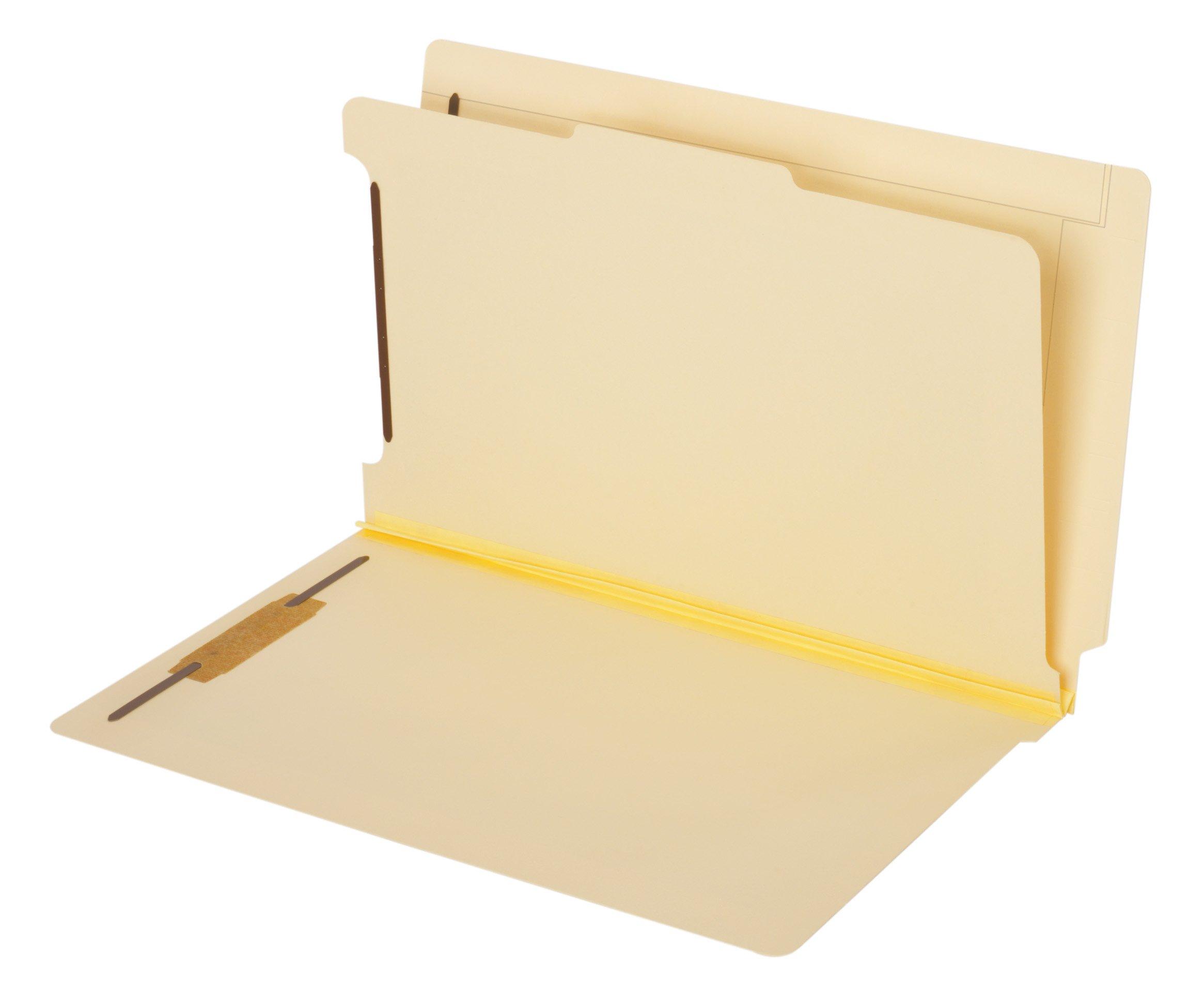 Globe-Weis/Pendaflex End Tab Classification Folders, 1 Divider, 2-Inch Bonded Fasteners, Legal Size, Manila, 10 Folders Per Box (39825)