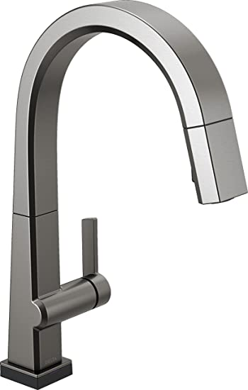 Delta Faucet Pivotal Single Handle Touch Kitchen Sink Faucet With Pull Down Sprayer Touch2o Technology And Magnetic Docking Spray Head Black Stainless 9193t Ks Dst Amazon Com