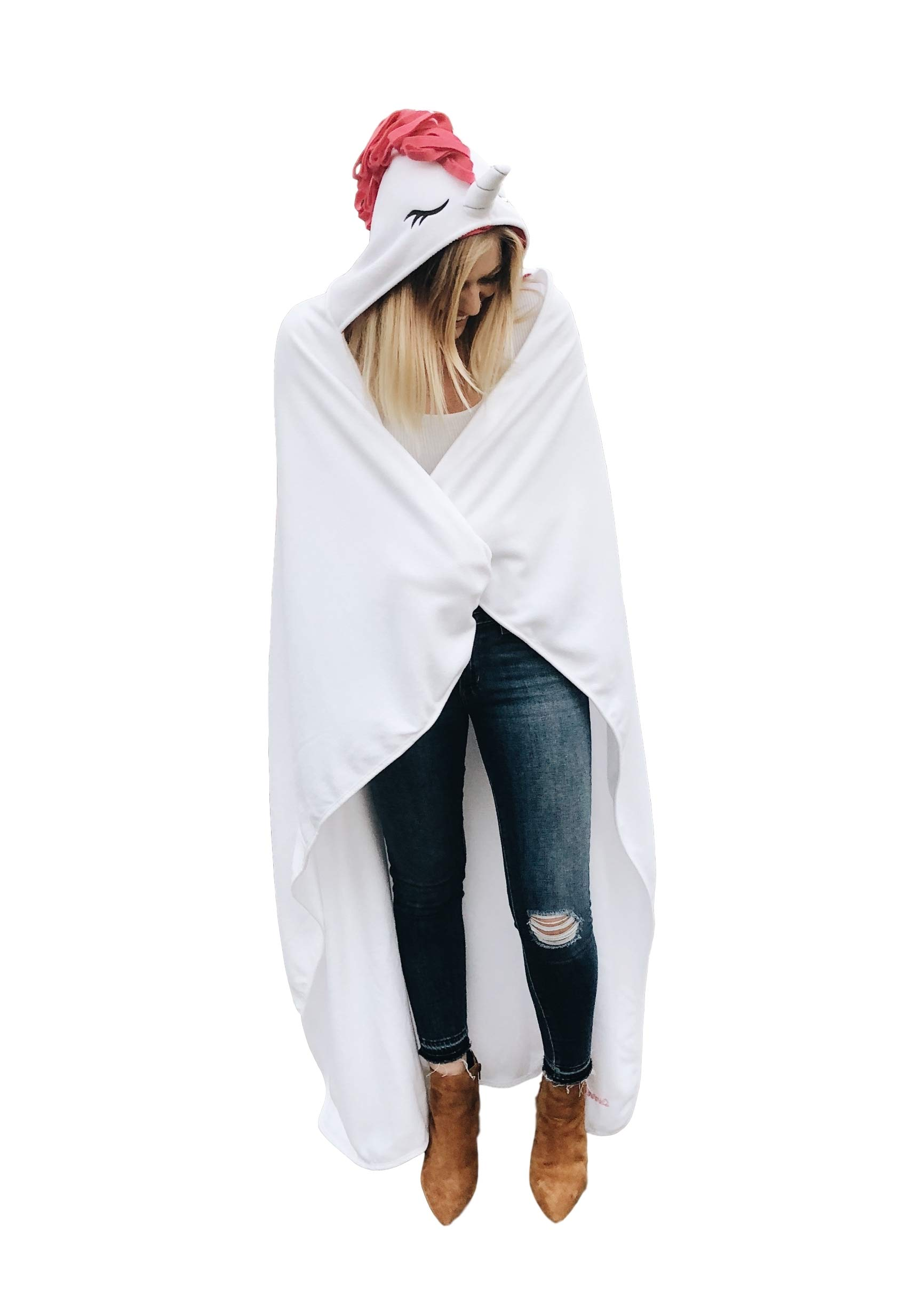 Sworn Unicorn Hooded Blanket | Large Size for Adults | Wearable Pink White Plush Throw Blanket Wrap | Cute, Warm, & Durable Cashmere Fleece Snuggie Hood | Perfect For Moms, Parents, & Teenagers of Age by Merhoff & Larkin