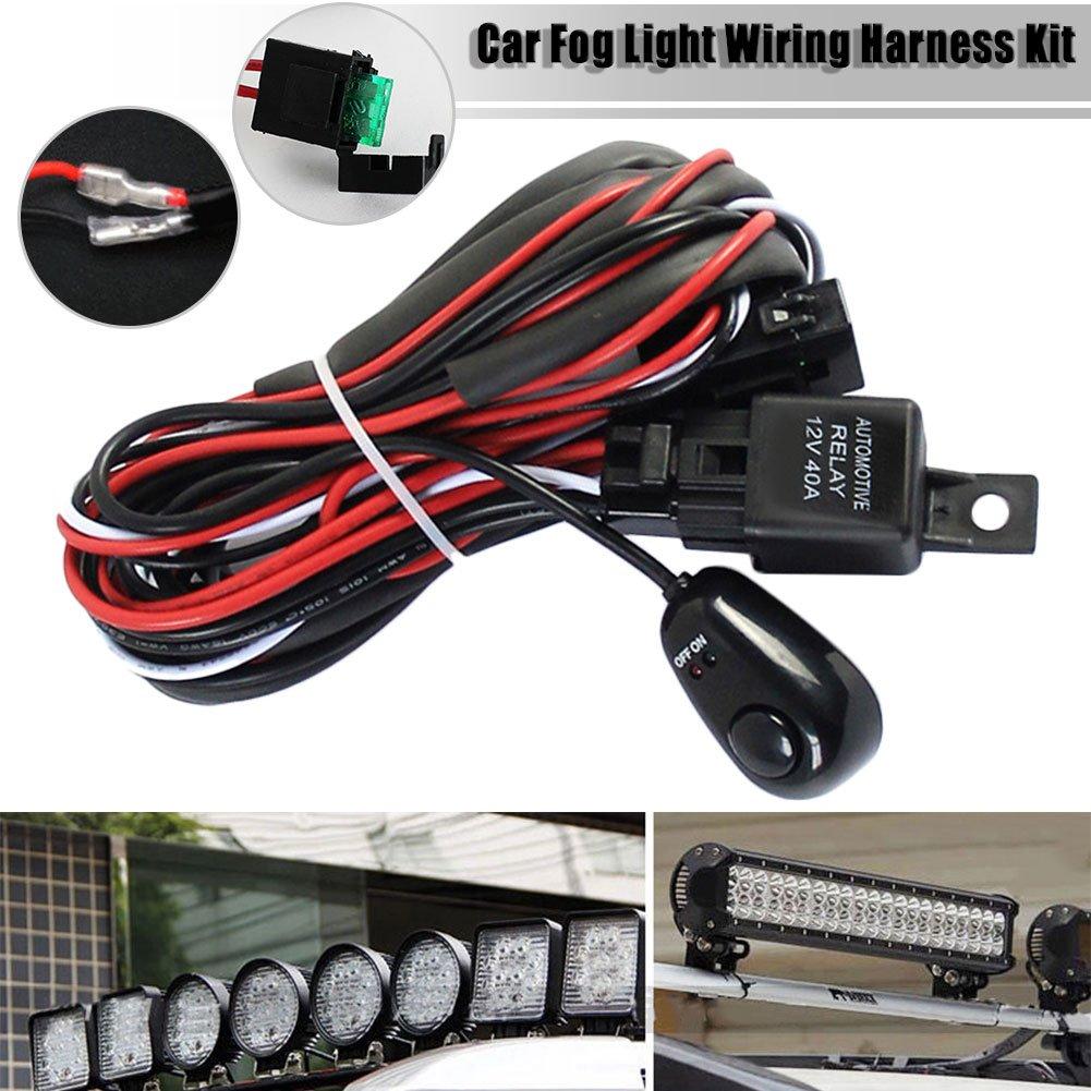 Junda LED Light Bar Wiring Harness Kit, 12V 40A On off Switch Power Relay Blade Fuse for Off Road LED Work Light Bar