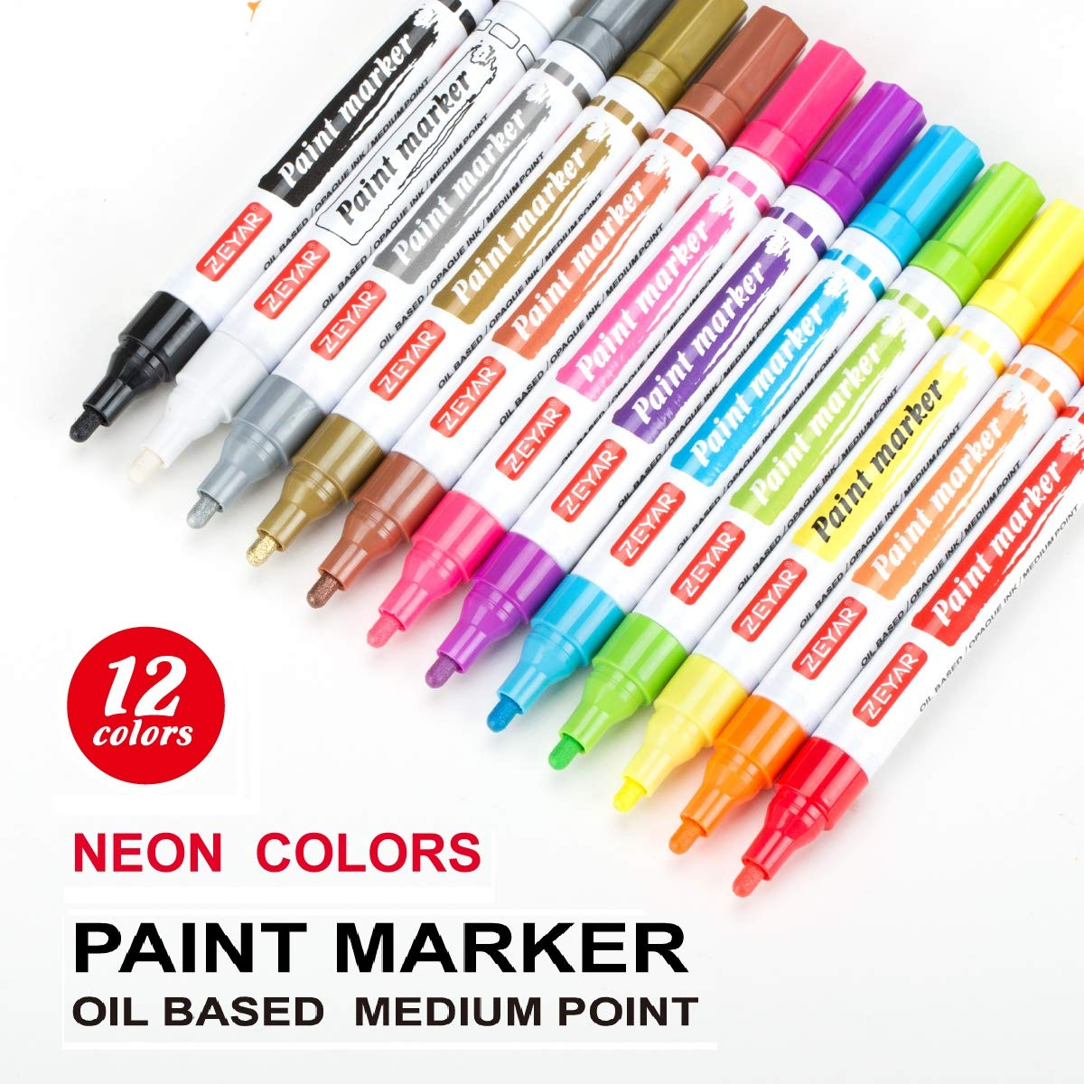 ZEYAR Paint Pen Markers Oil-Based Medium Point Greeting Cards and Rock Painting Professional Marker Manufacturer Great for Christmas Gift Cards 12 Beautiful Unique Neon and Metallic Colors