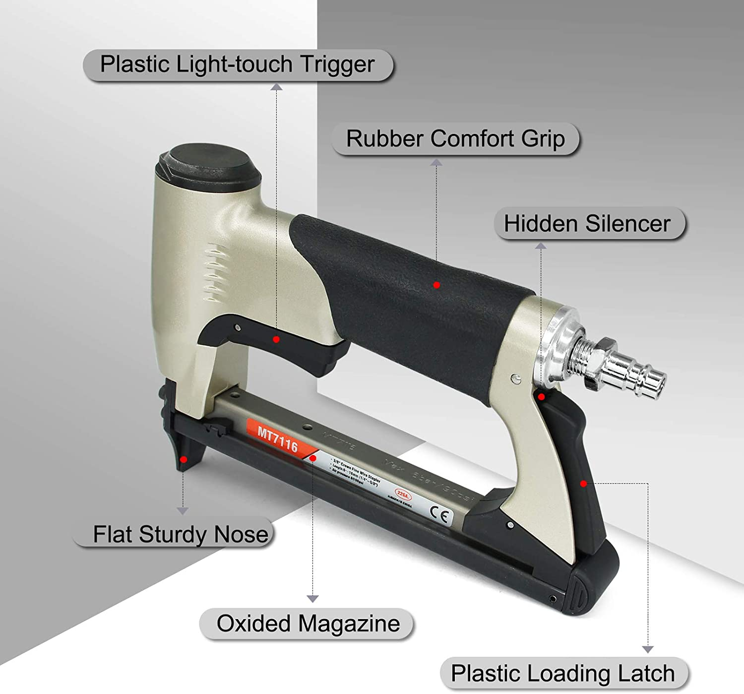 Light and Quiet Fine Wire Stapler for Furniture MT7116 Pneumatic Upholstery Stapler Air Staple Gun 1//4-inch to 5//8-inch Staples 22 Gauge 71 Series 3//8-inch Crown
