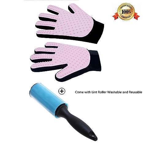 Freefa cuidado mascota guantes, mascota Peine Cepillo de masaje guante de baño para largo y