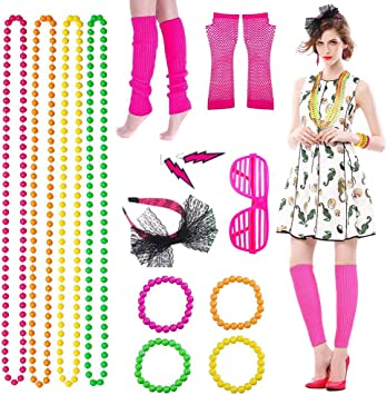 Neon Bright Sets Legging Vest Bead Necklace Headband Wristband Fancy Dress 80/'s