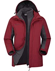 Mountain Warehouse Thunderstorm Mens 3 in 1 Jacket - Breathable Winter Mens Coat, Waterproof Rain Coat, Taped Seams, Detachable Inner Fleece Rain Jacket - for Travelling