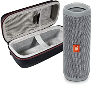 JBL Flip 5 Waterproof Portable Wireless Bluetooth Speaker Bundle with Hardshell Protective Case - Grey