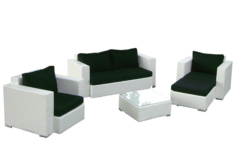 Baidani Gartenmöbel-Sets 10c00042.00002 Designer Rattan Lounge-Garnitur Calypso, 1 2-er-Sofa, 2 Sessel, 1 Hocker, 1 Couch-Tisch mit Glasplatte, braun