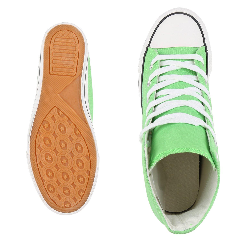 schuhe VITA Keilabsatz Damen Sneaker Wedges mit Keilabsatz VITA Basic Hellgrün Weißs bbf044