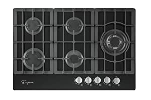 "Empava 30"" 5 Italy Sabaf Burners Gas Stove Cooktop Black Tempered Glass EMPV-30GC5L70A"