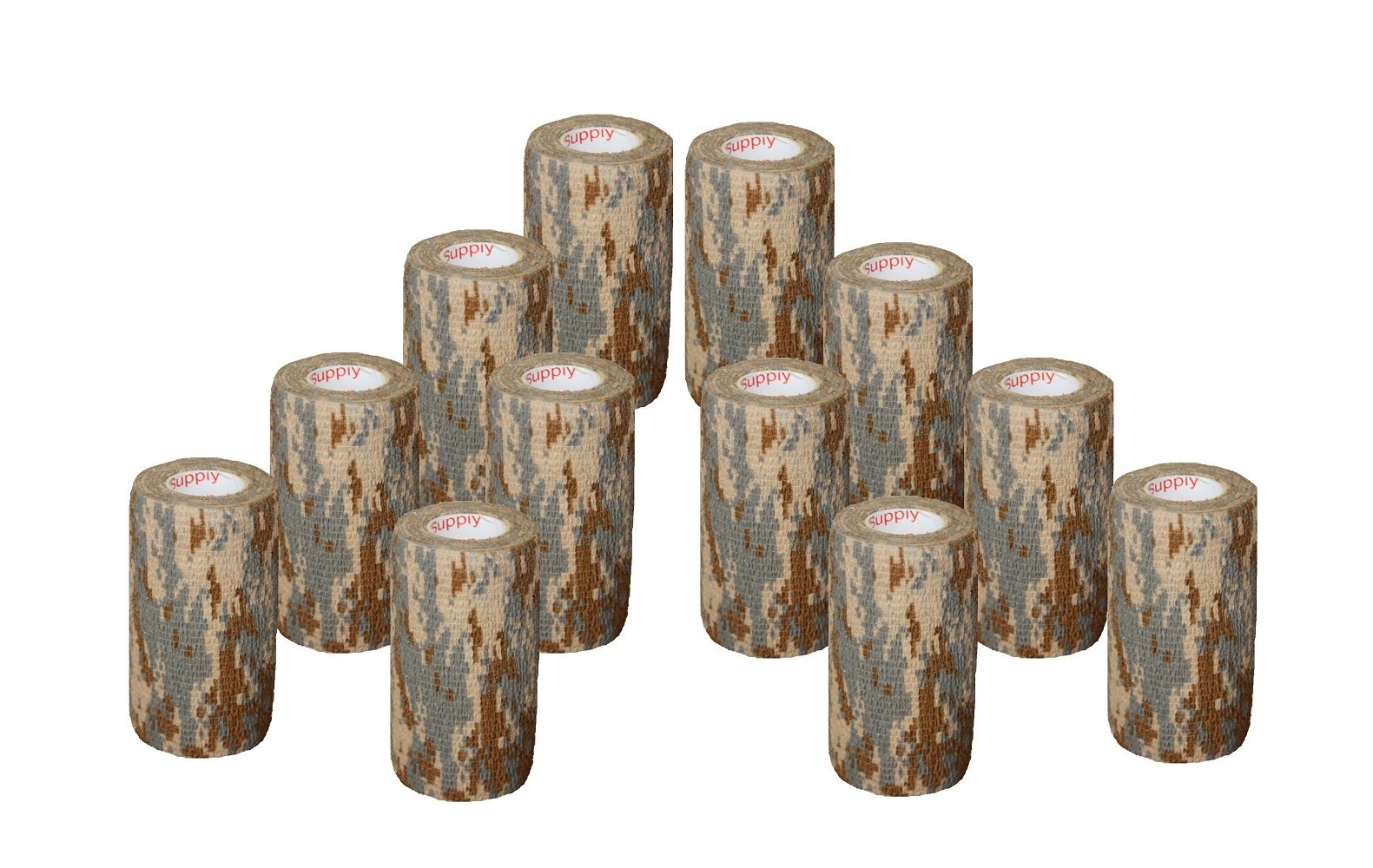 "12 Pack Camo Tape 2"", 3"" or 4'' inch x 15' Feet Self Adhesive Adherent Tactical Stealth Non Woven Fabric Stretch Bandage Vet Wrap Rap Protective Camouflage Tape for Outdoor Military - Woodland"