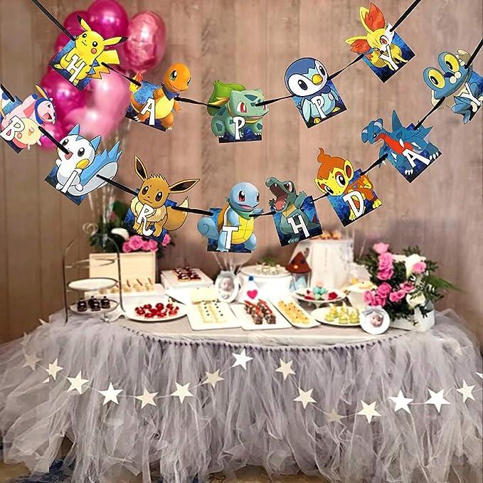 Amazon.com: Pancarta de cumpleaños de Pokemon para niños ...