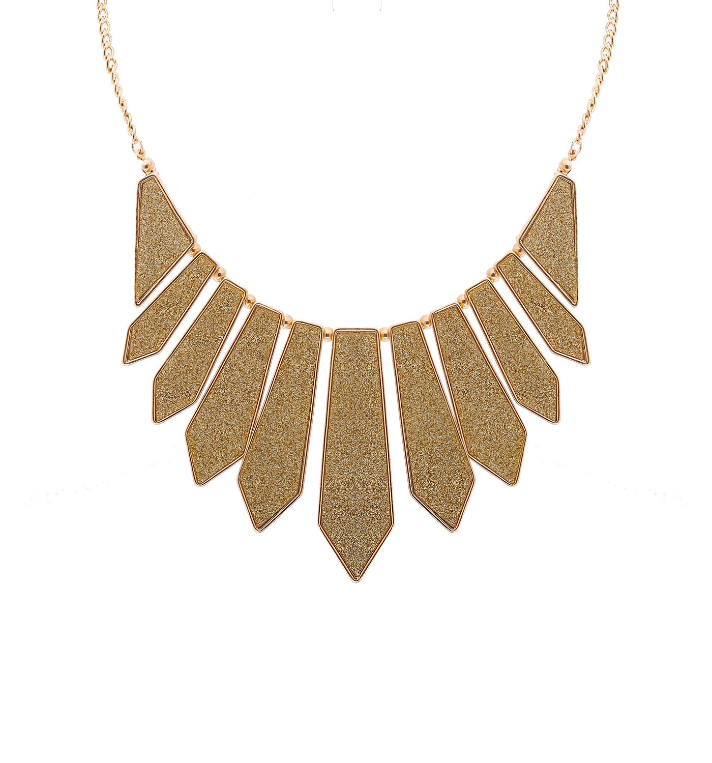 HSWE Spangle Collar Necklace for Women Short Chunky Bib Necklace (Gold)