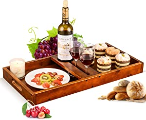 Serving Tray With Handles Wooden Ottoman Tray Outdoor Wine Picnic Table Glasses & Bottle, Snack and Cheese Holder Tray With Handle Multi-Purpose Platter Vintage Decorative Platters for Kitchen