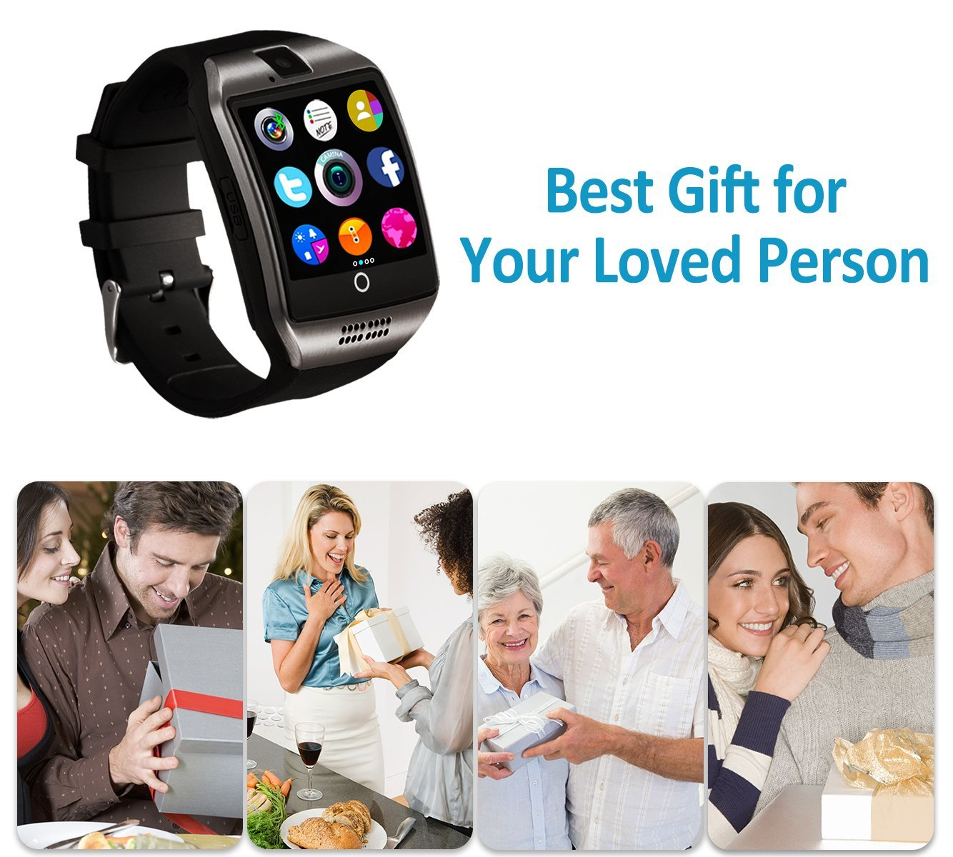 Bluetooth Smart Watch Touchscreen with Camera,Unlocked Watch Cell Phone with Sim Card Slot,Smart Wrist Watch,Waterproof Smartwatch Phone for Android Samsung IOS Iphone 7 6S Men Women Kids by Luckymore (Image #3)