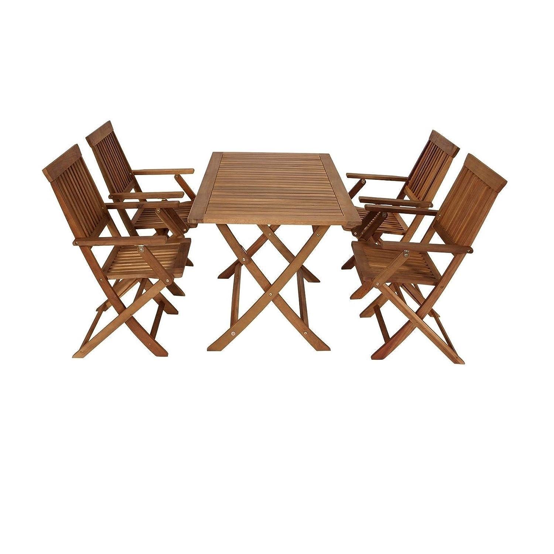 5 teilige Sitzgruppe 4 Stühle 1 Tisch Gartenmöbel Holz Gartentisch ...