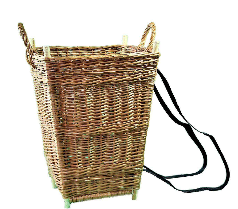 Alpenfell Tragekiepe Eckig aus Weide, KIEPE Rückenkiepe Tragekiepe Weidenkorb Holzkorb Erntekorb, Handarbeit, sehr stabil - 2 Verschiedene Größen (Groß)