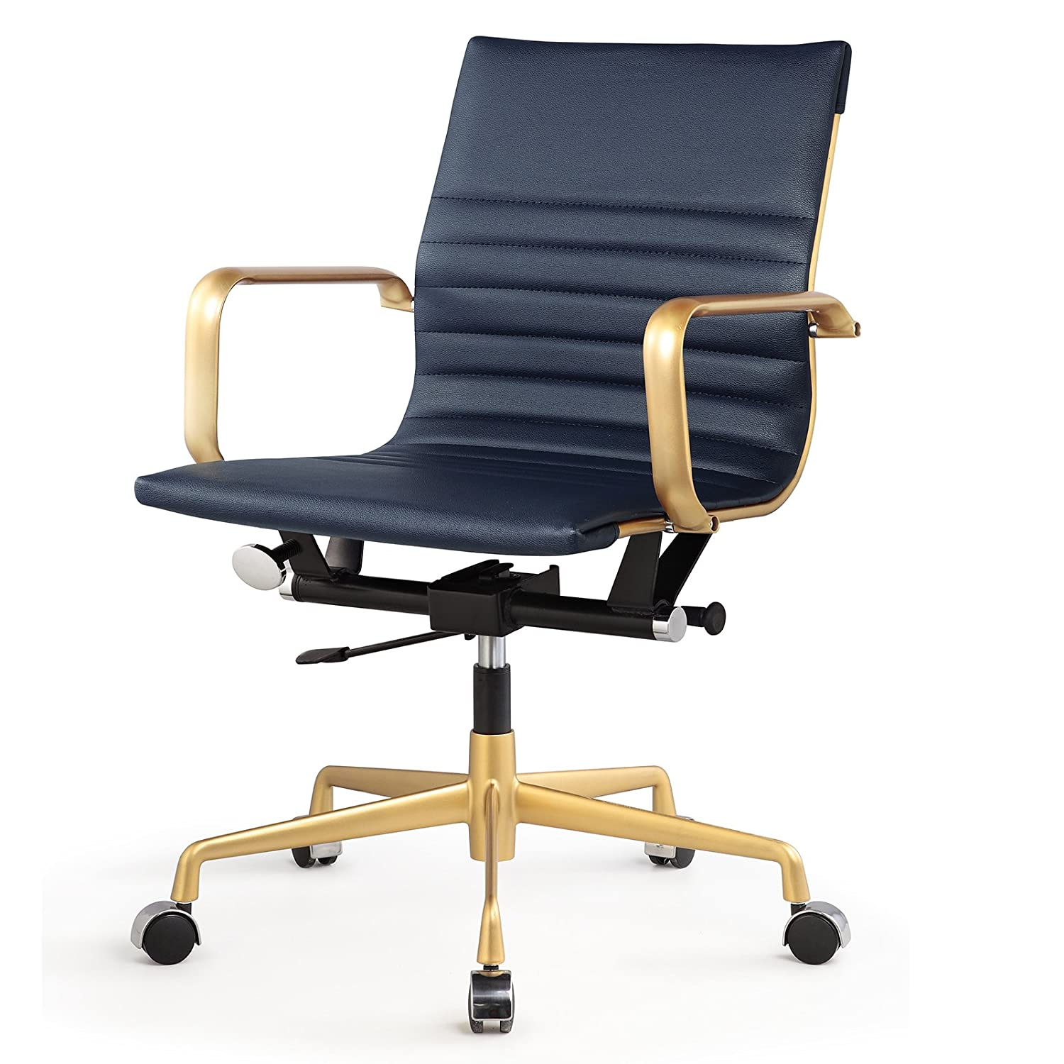 Amazon.com: Meelano 348 GD NVY Office Chair In Vegan Leather, Gold/Navy  Blue: Kitchen U0026 Dining