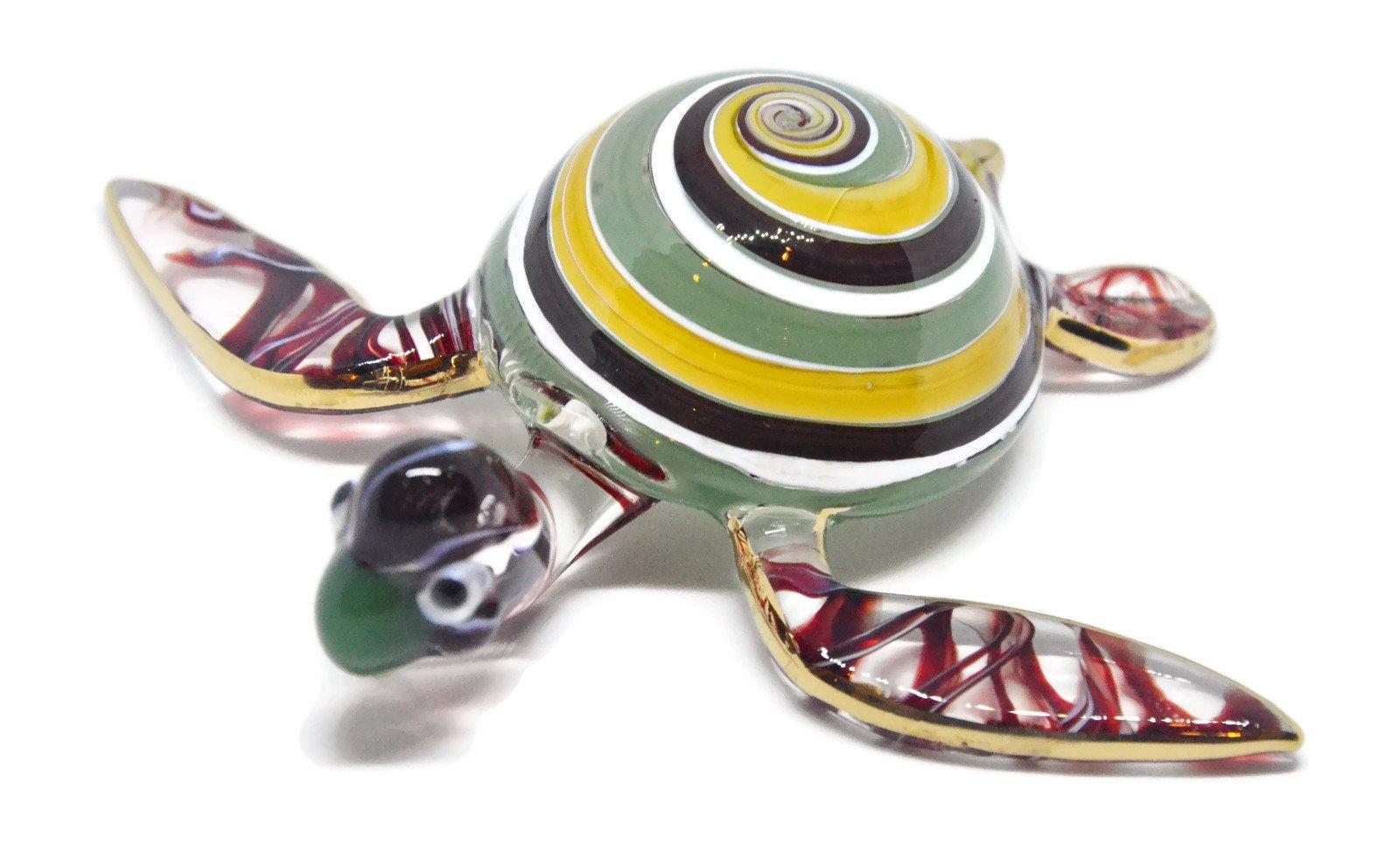 NaCraftTH Handicraft Glass Figure Murano Glass Blowing Artwork Colorful Sea Turtle Animal Figurines Fish Tank Aquarium Decorations