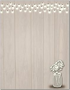 Rustic Theme Stationery - 8.5 x 11-60 Letterhead Sheets - Lights & Jar Rustic Letterhead (Rustic)