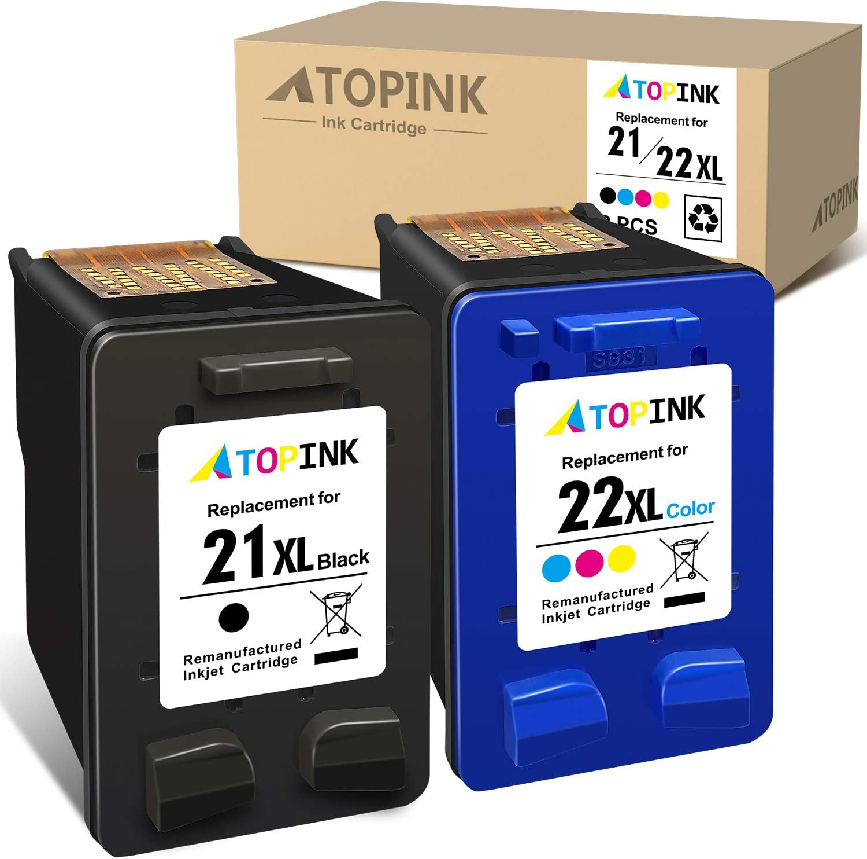 ATOPINK Remanufactured Ink Cartridge Replacement for HP 21XL 22XL 21 22 XL for OfficeJet 5610 4315 4315 5610 J3680 DeskJet F2210 F4180 F4140 D1455 FAX 1250 PSC 1410 1401 1410v (1 Black, 1 Tri-Color)