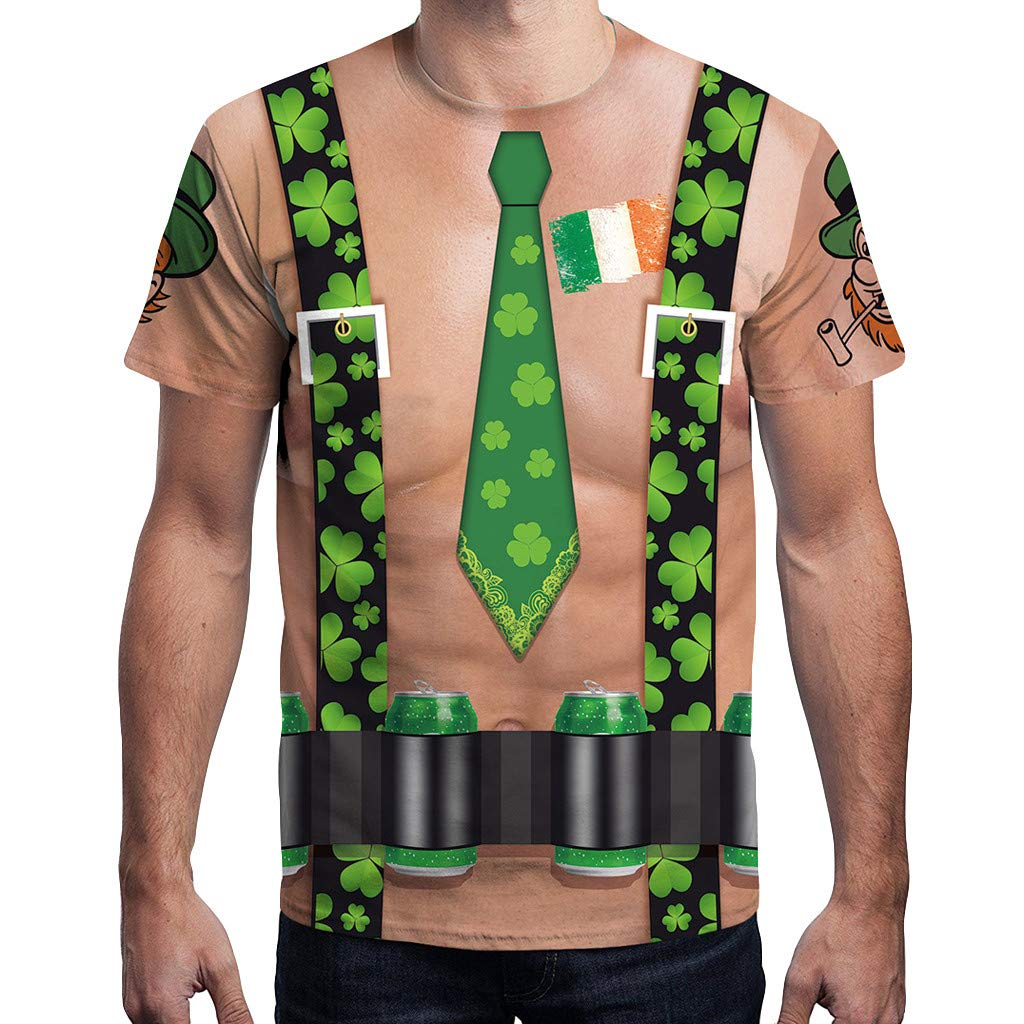 Mlide ST. Patrick's Day Men's Leprechaun Costume Green T-Shirts All Over Adult Tee