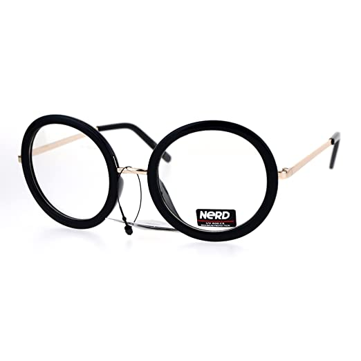 Amazon.com: Womens Clear Lens Glasses Oversized Thick Round Frame ...
