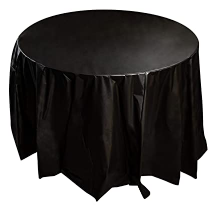 222 & Juvale 12-Pack Black Plastic Tablecloth - 84-Inch Round Disposable Table Cover Fits up to 72-Inch Round Tables Black Themed Party Supplies