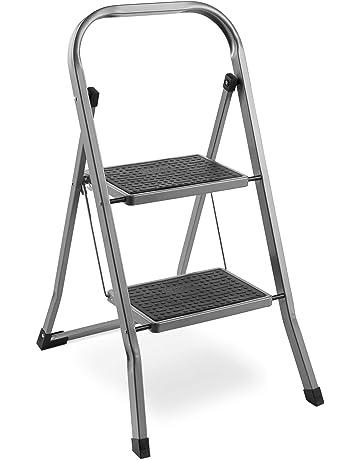 VonHaus 2 Step Steel Ladder – Anti Slip Feet – Easy to Store Foldable  Design – 04561c4e01