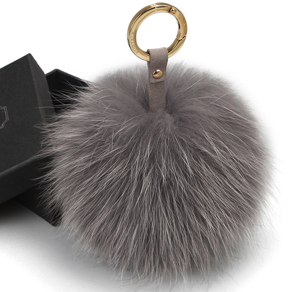 FURTALK Genuine Large Fox Fur Pompoms Mobile Strap Coppia Keychain Fox Fur Ball (grey)