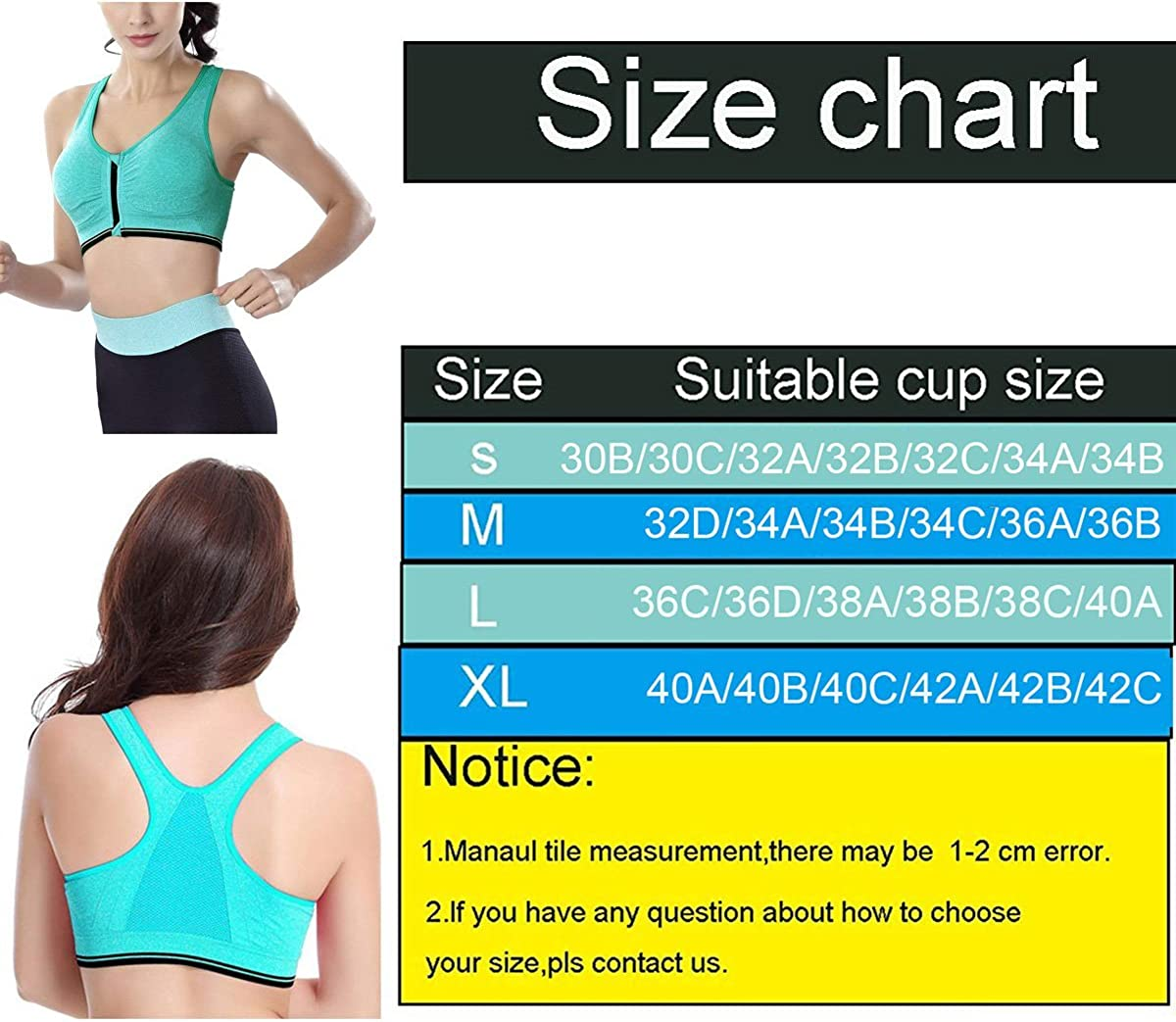 Ohequbao Women Zipper Front Closure Wirefree Support Activewear Sport and Yoga Bras with Removable Paddings