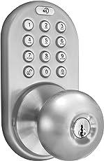 MiLocks DKK-02SN Cerradura de puerta sin llave con sistema táctil electrónico, níquel satinado