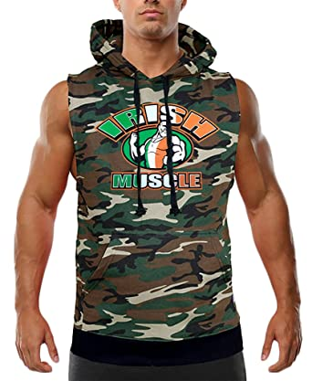 Men's Irish Muscle Flag Sleeveless Camo Vest Hoodie Small Camo