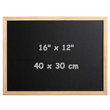 DOEWORKS 40cm x 30cm Tablero montado en la pared de la cocina del letrero de la pizarra de la pizarra, marco de madera