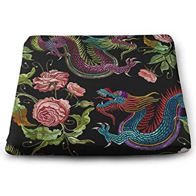 Sanghing Customized Embroidery Dragons and Flowers Peonies Classical Asian Dragons 1.18 X 15 X 13.7 in Cushion, Suitable for Home Office Dining Chair Cushion, Indoor and Outdoor Cushion.: Home & Kitchen