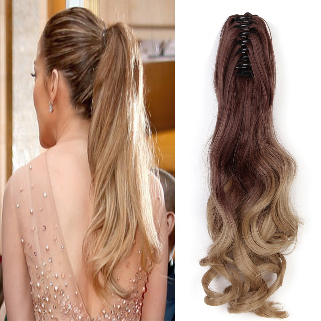 Neverland Beauty 20(50cm) Ombre Two Tone Long Big Wavy Claw Curly Ponytail Clip in Hair Extensions 8#/25#