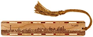 product image for Seattle Washington Skyline Engraved Wooden Bookmark with Tassel - Also Available Personalized