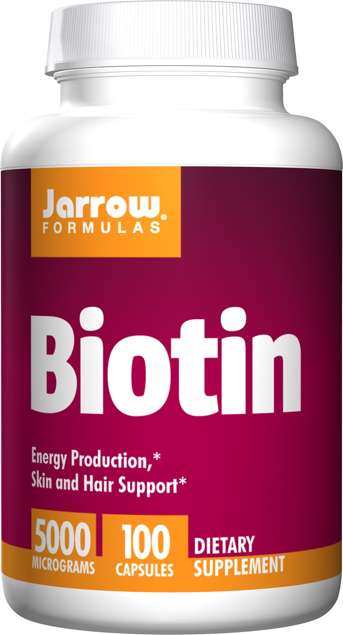 Jarrow Formulas Biotin 5000mcg, Supports Energy Production and Skin/Hair Support, 100 Capsules (Pack of 2)