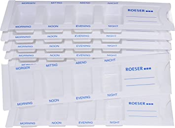 10 dispensadores de medicamentos para 1 día con 4 compartimentos, pastillero, caja para pastillas, pastillero de Roeser: Amazon.es: Salud y cuidado personal