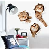ZRSE 3D Removable Cartoon Animal Cats Large Wall Stickers | Easy to Peel Easy to Stick Safe on Painted Walls | Cute Catty Decor Posters for Nursery Room, Toilet, Kitchen, Offices etc. (15.7 X 28.7 IN)