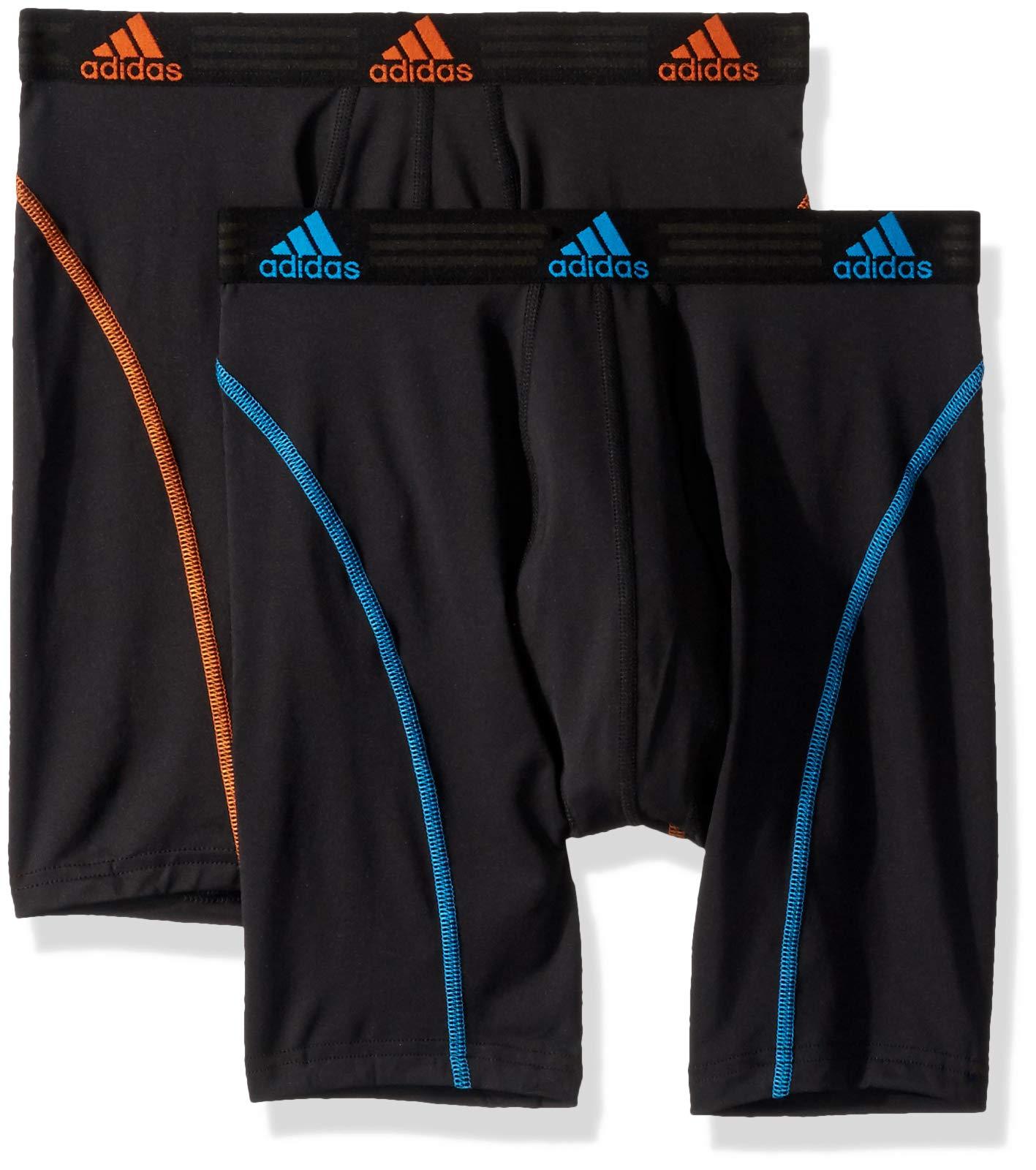 adidas Men's Sport Performance Midway Underwear (2-Pack), Black/Bright Blue Black/Orange, SMALL by adidas