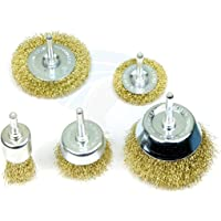 XTREMEPOWER Multipurpose Wire Brass Brush Set to Remove Paint, Dust, Dirt, Medium (Golden) - Set of 5