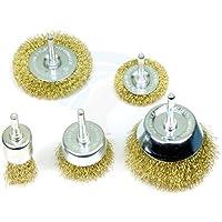 XTREMEPOWER Multipurpose Wire Brass Brush Set to Remove Paint, Dust, Dirt, Medium (Golden) - Set of 5