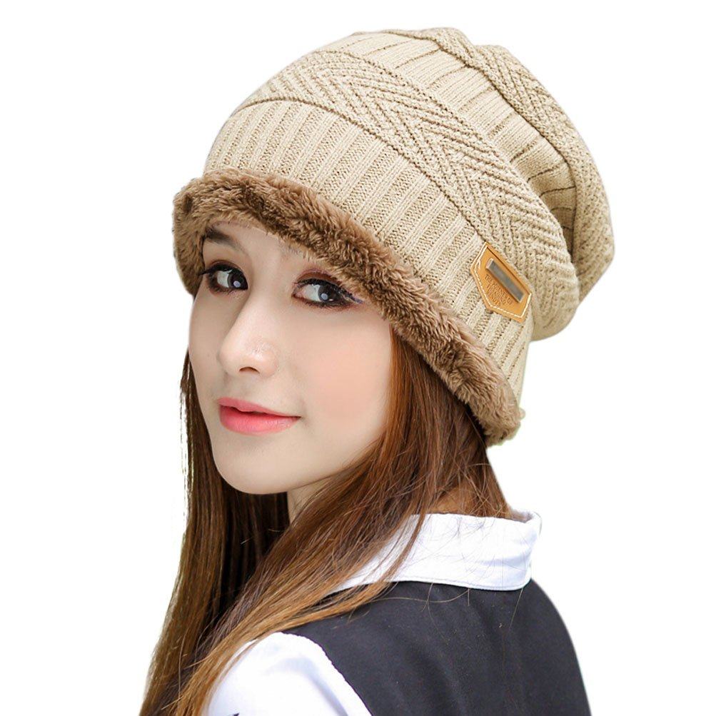 e570efba76c HINDAWI Winter Hats for Women Slouchy Beanie Snow Ski Knit Warm Skull Caps  Beige at Amazon Women s Clothing store