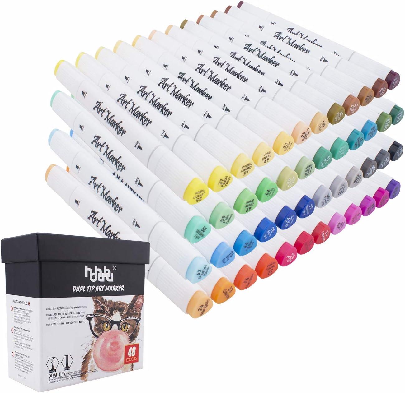 marcadores art/ísticos marcadores para ilustraci/ón para colorear adultos con paquete de regalo MH-48W 48 rotuladores de doble punta