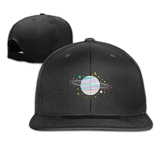 0d66a2ea8e6d5 LCUCE Saturn Planet Art Hip Hop Flat Brim Cap Unisex Baseball Hat Quirky  Adjustable Snapback Cool