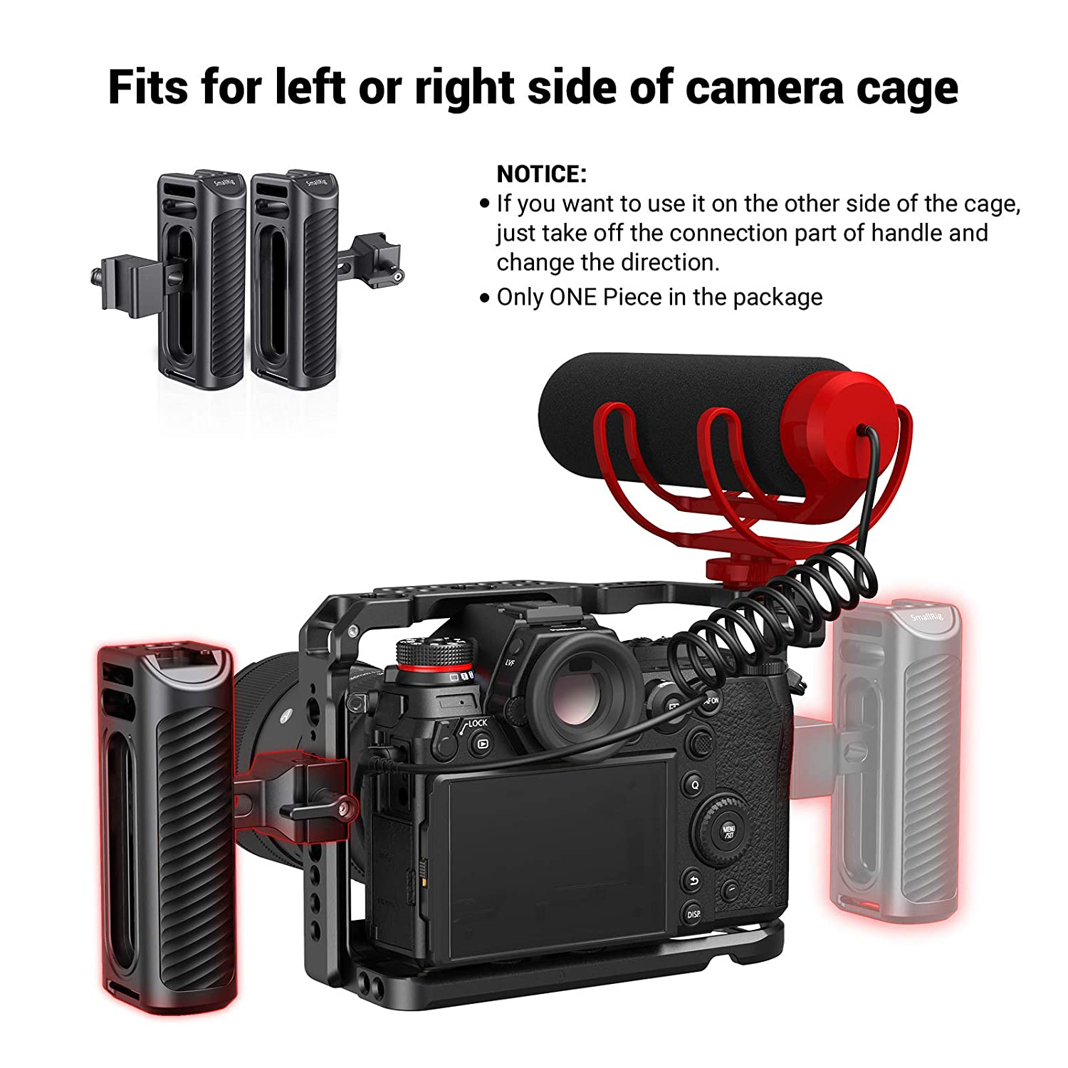 1//4 Threaded Holes HSS2425 SMALLRIG Universal Aluminum Side Handle Grip for DSLR Camera Cage with Cold Shoe Mount Built-in Wrench
