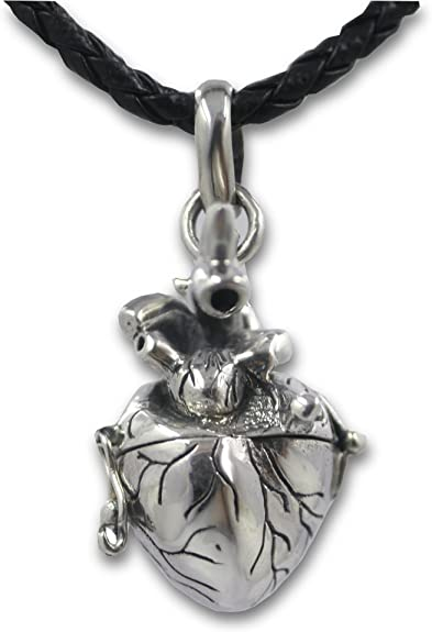 Anatomical Heart Charm 925 Sterling Silver Real Life Like Love Medical NEW
