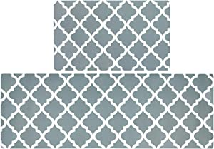 SHACOS Kitchen Rugs Mats Set of 2 Anti Fatigue Laundry Room Floor Mat 18x30+20x55 inch Standing Mat Wipe Clean Non Slip (Trellis Gray)