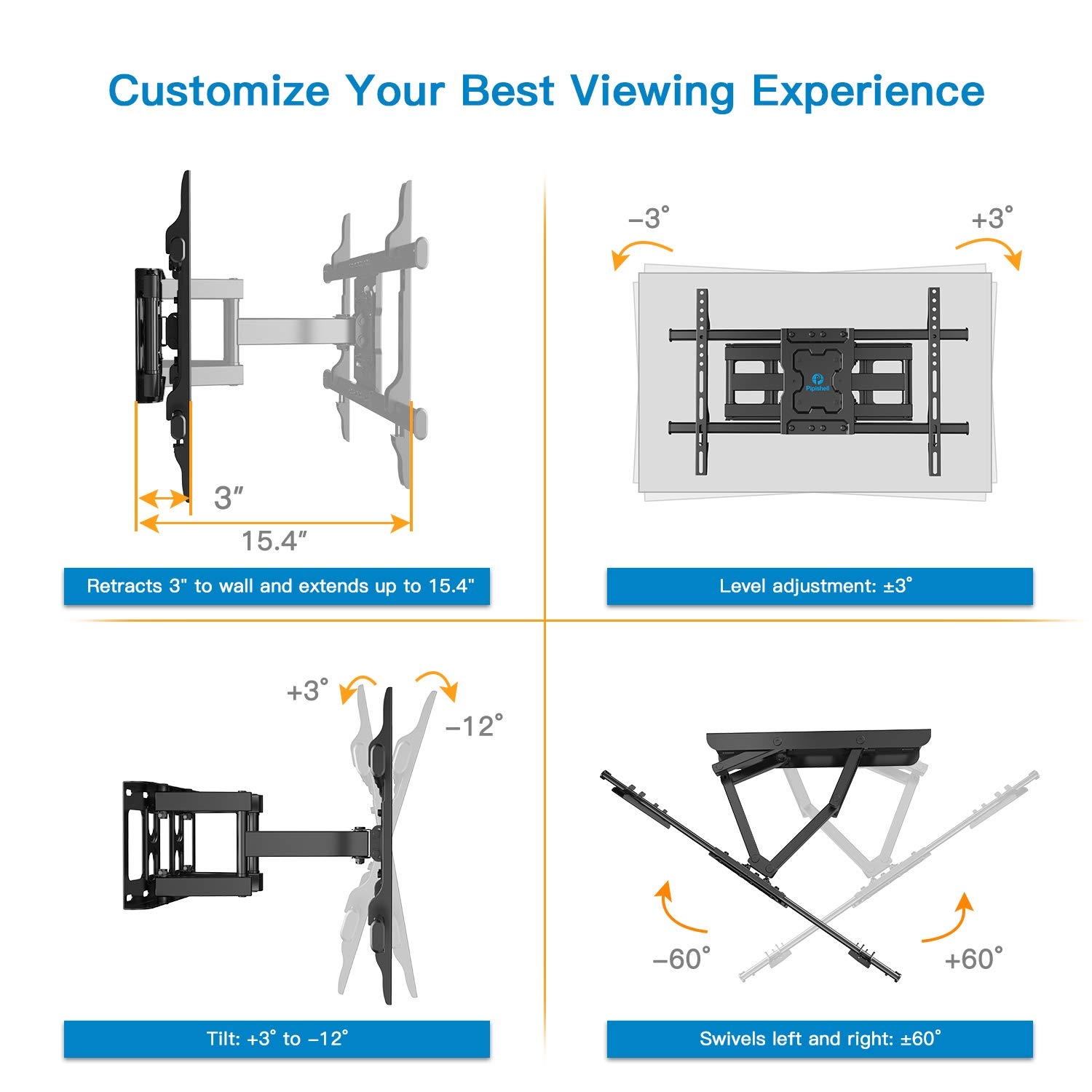 Full Motion TV Wall Mount Bracket Dual Articulating Arms Swivels Tilts Rotation for Most 37-70 Inch LED, LCD, OLED Flat&Curved TVs, Holds up to 132lbs, Max VESA 600x400mm by Pipishell by Pipishell (Image #2)